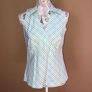 Ann Taylor Loft Green gingham Sleeveless Shirt 8